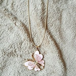 Pink and gold butterfly necklace